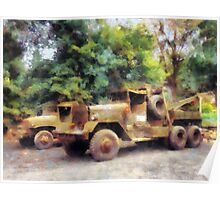 Two Army Trucks Poster