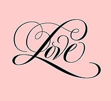 Romantic Black Flourished 'Love' Valentine Calligraphy Script Hand Lettering on Pastel Pink by 26-Characters