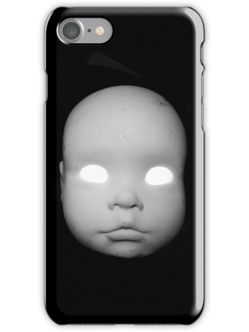 Creepy Doll Head iphone by Margaret Bryant