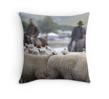 Herding sheep at Castlepoint. Throw Pillow
