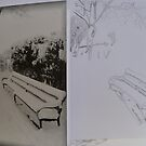 Drawing of Snowy Bench by Vicki Spindler (VHS Photography)