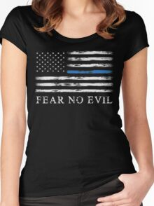 Blue Line - Fear No Evil Women's Fitted Scoop T-Shirt