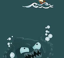 Kraken and Pirate Ship by monkeyminion