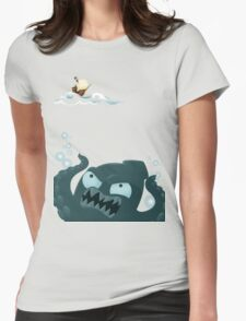 Kraken and Pirate Ship Womens Fitted T-Shirt