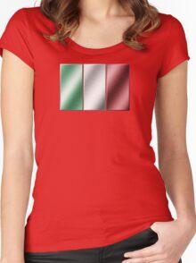 Italian Flag - Italy - Metallic Women's Fitted Scoop T-Shirt