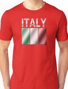 Italy - Italian Flag & Text - Metallic Unisex T-Shirt