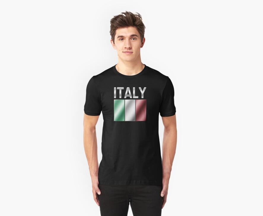 Italy - Italian Flag & Text - Metallic by graphix