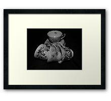 Grandma's Tea Cups Black and White Framed Print