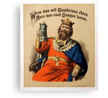 Vintage King on Throne with Stein Beer Canvas Print