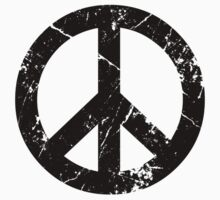 Peace Grunge Symbol (white) by Yiannis  Telemachou