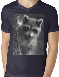 Peek-a-boo! /Baby Raccoon in black and white Mens V-Neck T-Shirt