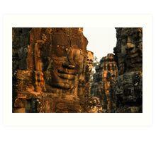 The Bayon temple, Angor complex, Cambodia. Art Print
