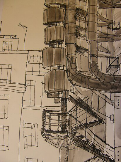 FAMOUS ROOFS OF LONDON UK 3 Lloyds building street level by Tuartkatz