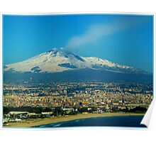Catania. Beach, City and Etna Poster