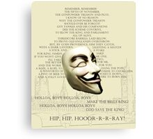 Remember The 5th of November Canvas Print