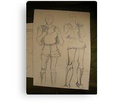 SKETCHES 4 ~ london fashionista's backpacks Canvas Print