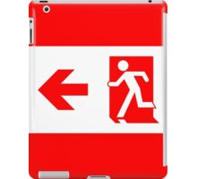Running Man Exit Sign, Left Hand Arrow iPad Case/Skin