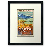 Vintage Queenstown New Zealand Travel Framed Print