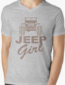 Jeep Girl Brown Mens V-Neck T-Shirt