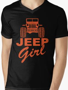 Jeep Girl Orange Mens V-Neck T-Shirt