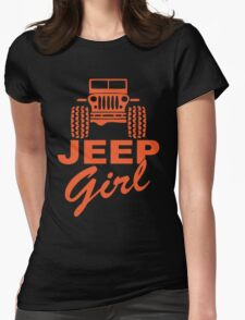Jeep Girl Orange Womens Fitted T-Shirt