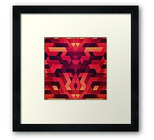 Abstract  geometric triangle texture pattern design in diabolic future red Framed Print