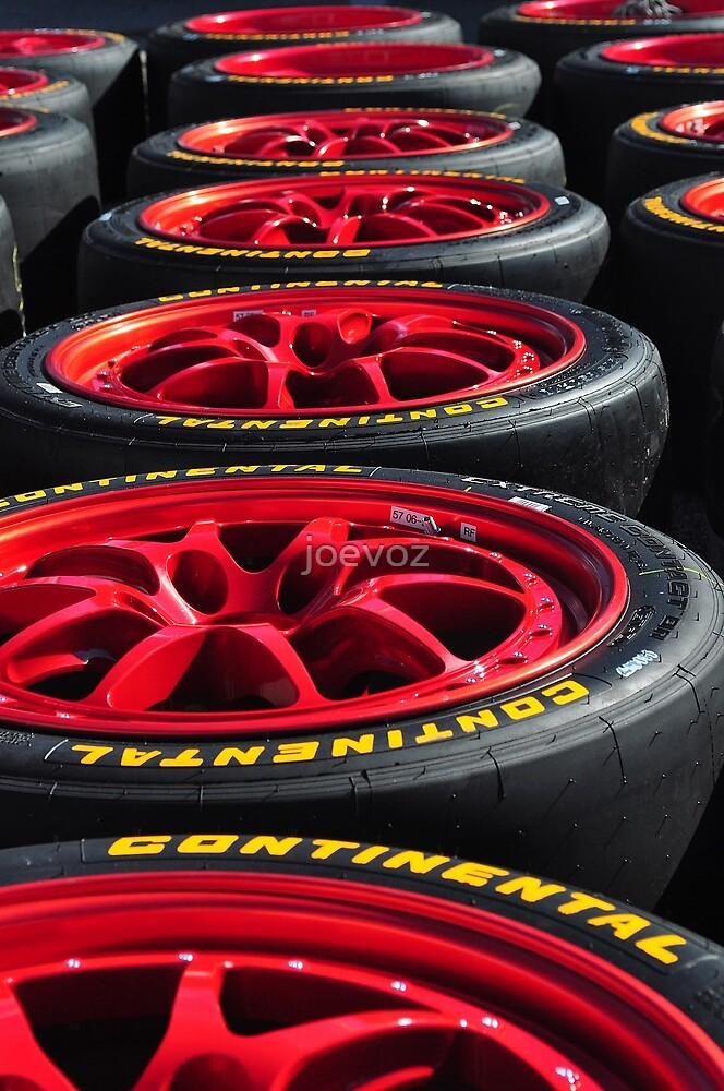 Red Race Wheels in a Row by joevoz