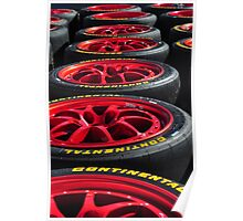 Red Race Wheels in a Row Poster