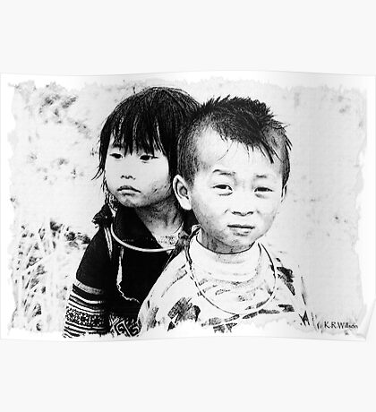 Hmong Children, Sapa, Vietnam Poster