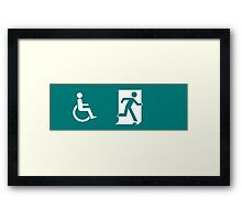 ISO 21542, ISO 7010 Exit Sign with Wheelchair Symbol Framed Print