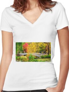Autumn in Central Park, Study 1 Women's Fitted V-Neck T-Shirt