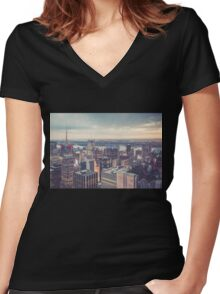 Clearing Storm from Top of the Rock Women's Fitted V-Neck T-Shirt