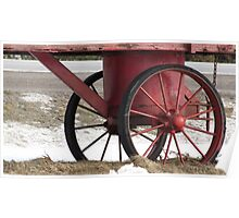 Red Wagon Wheels Poster