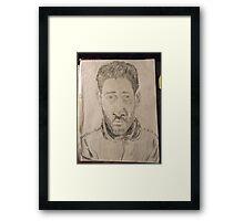 Self-portrait -(050312)- graphite stick/A4 paper Framed Print