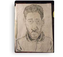Self-portrait -(050312)- graphite stick/A4 paper Canvas Print