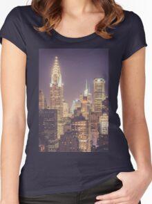 Chrysler Building Dusk Women's Fitted Scoop T-Shirt