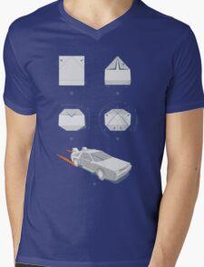Origami DeLorean Mens V-Neck T-Shirt
