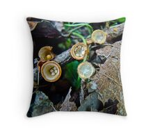 White Egg Birds Nest Mushrooms - Crucibulum laeve Throw Pillow