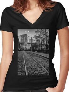 Abandon Railway Dumbo Women's Fitted V-Neck T-Shirt