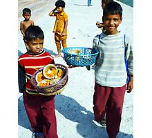 Boys selling puja in India. Photographic Print