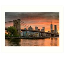 Sunset Over Brooklyn Bridge Art Print
