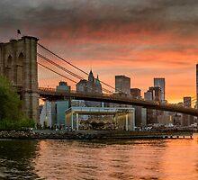 Sunset Over Brooklyn Bridge by Randy  LeMoine