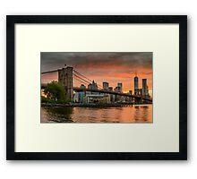 Sunset Over Brooklyn Bridge Framed Print