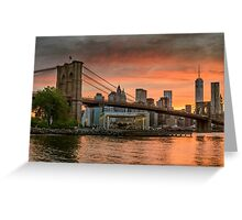 Sunset Over Brooklyn Bridge Greeting Card