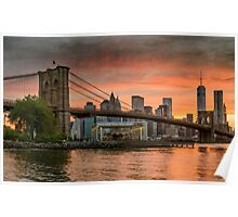 Sunset Over Brooklyn Bridge Poster