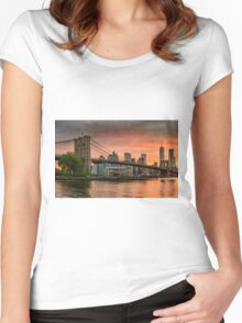 Sunset Over Brooklyn Bridge Women's Fitted Scoop T-Shirt