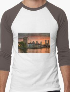 Sunset Over Brooklyn Bridge Men's Baseball ¾ T-Shirt