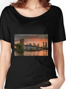 Sunset Over Brooklyn Bridge Women's Relaxed Fit T-Shirt