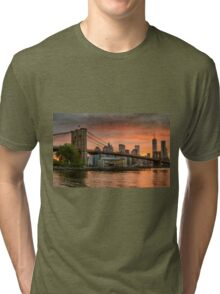 Sunset Over Brooklyn Bridge Tri-blend T-Shirt