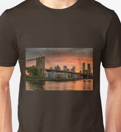 Sunset Over Brooklyn Bridge Unisex T-Shirt